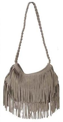 Suede Fringe Bag in Grey on Vanessa Hudgens by JJ Winters