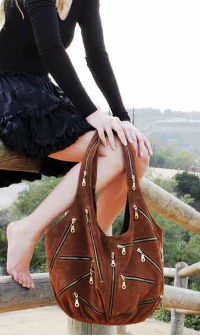 06bd7b2014a JJ Winters Multi Zipper bag in Rust Suede Vanessa Hudgens Style 280 ...