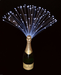 Fiber optic decoration for bottles at parties or weddings