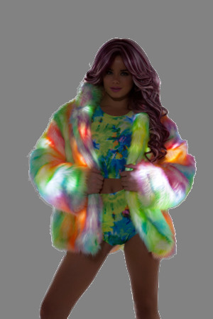 Hip Length Light Up Coat from J Valentine in Rainbow Sherbet Colors