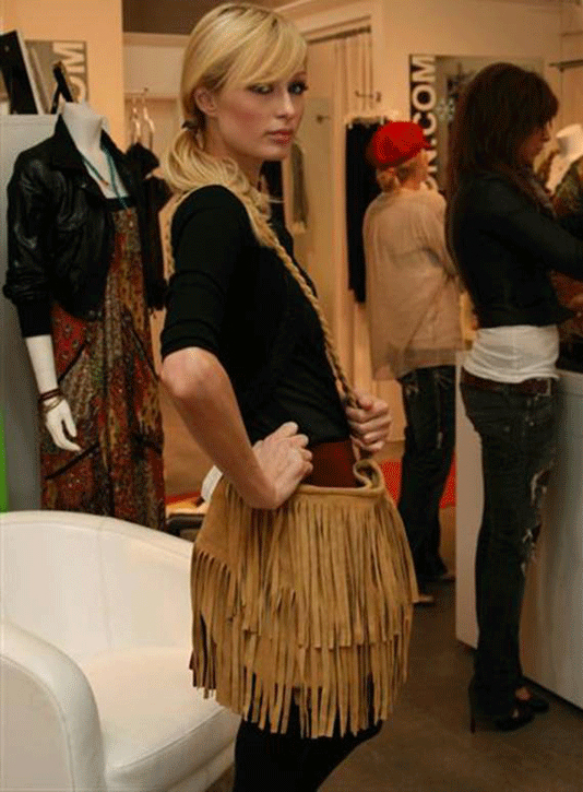 JJ Winters 254 fringe bag on Paris Hilton